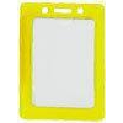 BRADY PEOPLE ID, BADGE HOLDER, DATA/CREDIT CARD, YELLOW FRAME VINYL BADGE HOLDER, SLOT, SOLD IN PACKS OF 100, PRICED PER PACK.
