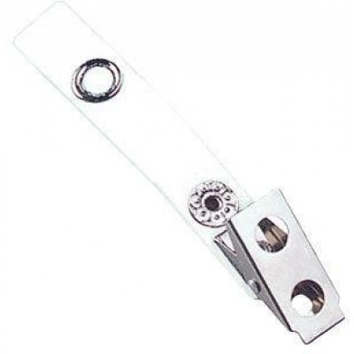 BRADY PEOPLE ID, 2 HOLE CLIP WITH COLORED 2 3/4 STRAP, WHITE, SOLD IN PACKS OF 100 PRICE PER PACK