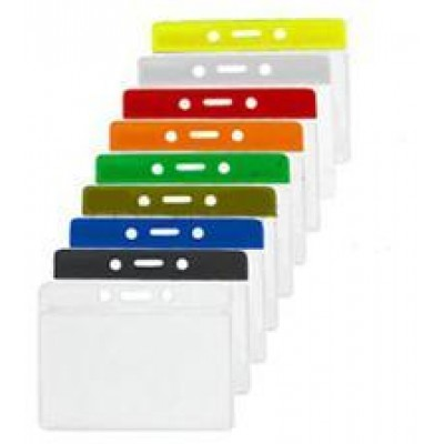 """BRADY PEOPLE ID, HORIZONTAL COLOR-BAR BADGE HOLDER, CLEAR COLOR BAR, DATA/CREDIT CARD SIZE, CLEAR VINYL, TOP LOAD WITH SLOT & CHAIN HOLES, SMOOTH TEXTURE, 3 3/8"""" X 4 1/4"""", BAG OF 100, PIECED AND SOLD IN FULL BAGS ONLY"""