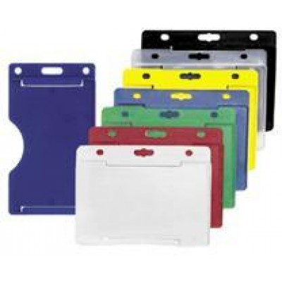 """BRADY PEOPLE ID, HORIZONTAL MULTI-CARD HOLDER, CLEAR VINYL, HOLDS ONE ID CARD ON ONE SIDE AND UP TO 3 ID CARDS OR 6 BUSINESS CARDS ON THE BACK SIDE, SIDE LOAD SLOT AND CHAIN HOLES, 2 1/8"""" X 3 3/8"""", BAG OF 100, PIECED AND SOLD IN FULL BAGS O"""