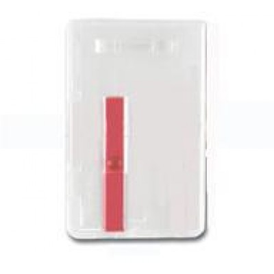 """BRADY PEOPLE ID, VERTICAL CARD DISPENSER, HOLDS ONE 30 MIL CARDS, FROSTED PLASTIC WITH RED EXTRACTOR SLIDE ON BACK, TOP LOAD WITH SLOT, 3 3/8"""" X 2 1/8"""", BAG OF 100, PIECED AND SOLD IN FULL BAGS ONLY,NON CANCELLABLE, NON RETURNABLE"""