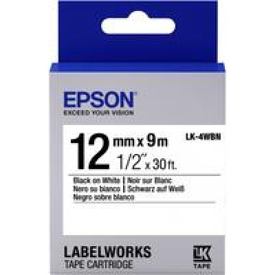 TAPE - LK4WBN STD BLK/WHT 12/9: Label Cartridge Standard LK-4WBN Bl...