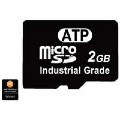ATP 2GB Industrial Grade (1 pack) microSD flash memory card designed and tested for rugged mobile computing and intensive program/erase operation. For use with MC95, MC55, MC75, MC75A, MC65, ES400. This is a Validated Product.