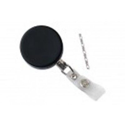 BRADY PEOPLE ID, BADGE REEL, HEAVY-DUTY, BLACK, CHROME, BADGE REEL W/LINK CHAIN AND REINFORCED VINYL STRAP, PACKED AND SOLD IN UNITS OF 25