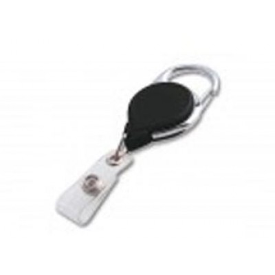 BRADY PEOPLE, CARABINER REEL WITH STD STRAP END-BLACK SOLD IN PACKS OF 25, PRICE INDIVIDUALLY