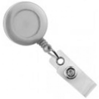 BRADY PEOPLE ID, ECONOMY RETRACTOR, ROUND SWIVEL, WHITE, BAG OF 25, PIECED AND SOLD IN FULL BAGS ONLY