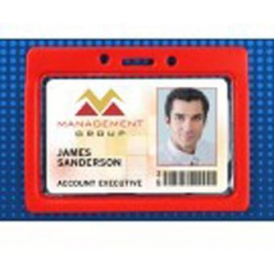 BRADY PEOPLE ID, HORIZONTAL BADGE HOLDER, CLEAR BORDER, CREDIT CARD SIZE. TOP LOAD WITH SLOT AND CHAN HOLES.SOLD IN PACK OF 100, PRICED PER PACK