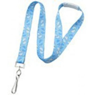 """BRADY PEOPLE ID, LANYARD, 5/8"""" BLUE BABY FOOTPRINT, SEWN, NPS SWIVEL-HOOK AND WHITE BREAKAWAY PACKED AND SOLD IN UNITS OF 100"""