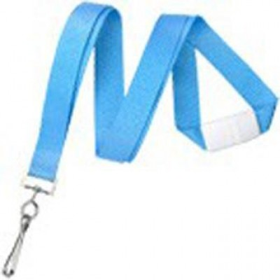 BRADY PEOPLE ID, LANYARD, FLAT NEON BLUE 5/8, WITH WHITE BREAKAWAY AND SEWN NICKLE PLATED STEEL SWIVEL HOOK, SOLD IN PACKS OF 100
