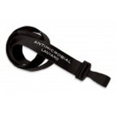 "BRADY PEOPLE ID, LANYARD STANDARD, BLACK, 5/8"" ANTIMICROBIAL LANYARD, MICROWEAVE W/ BLACK BREAK-AWAY & WIDE PLASTIC HOOK, PRICE PER 100"