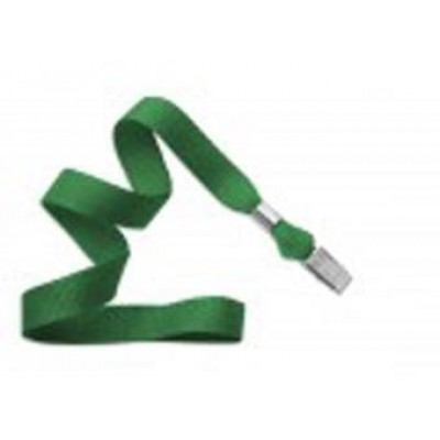 BRADY PEOPLE ID, LANYARD STANDARD, GREEN, 5/8 FLAT WOVEN LANYARD W/NICKEL PLATED STEEL BULLDOG CLIP,  MOQ 1 PACK ,100 PER PACK