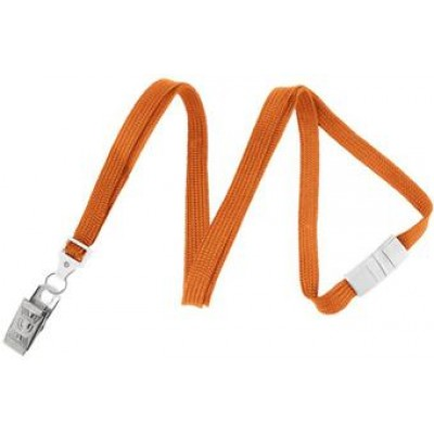 BRADY PEOPLE ID, LANYARD STANDARD, ORANGE, 3/8INCH FLAT WOVEN, BREAK-AWAY LANYARD W/NICKEL PLATED STEEL BULLDOG CLIP, QTY. 100