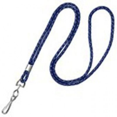 "BRADY PEOPLE ID, 1/8"" ROUND NAVY BLUE SILVER METALLIC LANYARD WITH NICKEL-PLATED STEEL CRIMP AND SWIVEL-HOOK, MOQ 1 PACK, 100 PER PACK"