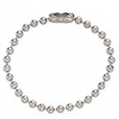 BRADY PEOPLE ID, NICKEL-PLATED STEEL BALL CHAIN, 5 INCH, NO. 4 BEAD SIZE, WITH CONNECTOR, PACK OF 1000