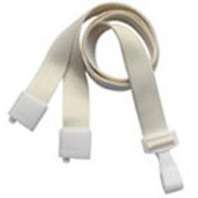 "BRADY PEOPLE ID, STANDARD LANYARD, EARTH-FRIENDLY PET, NATURAL, 5/8"" (16MM) FLAT ECO WEAVE, WITH WHITE WIDE PLASTIC HOOK AND BREAK-AWAY, PACK OF 100"