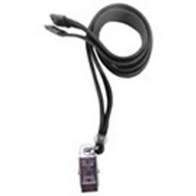 BRADY PEOPLE ID, STANDARD LANYARD, 3/8 INCH FLAT BLACK WITH BREAKAWAY AND U-CLIP, MIN ORDER QTY 100