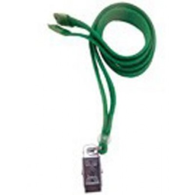 BRADY PEOPLE ID, STANDARD LANYARD, 3/8 INCH FLAT GREEN WITH BREAKAWAY AND U-CLIP, PACK OF 100