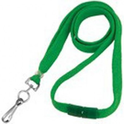 BRADY PEOPLE ID, GREEN 3/8 INCH FLAT BRAIDED LANYARD, BREAK AWAY, SWIVEL HOOK, PACK OF 100