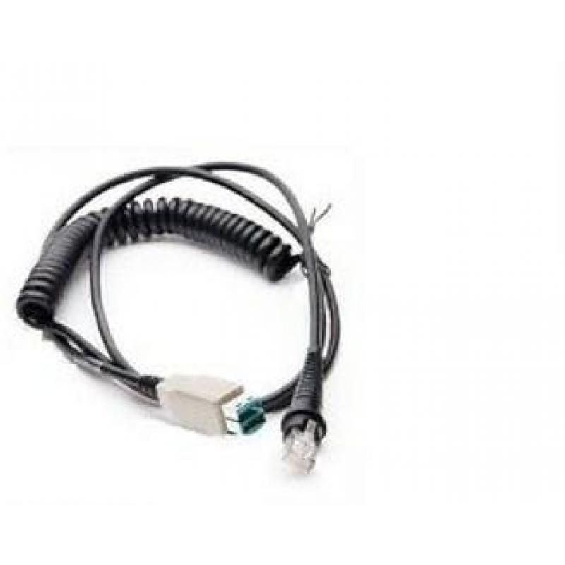 Cable: USB, black, 12V locking, 2.9m (9.5´), coiled, host power