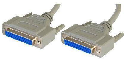 NULL MODEM CABLE 2M RS232 D25F-D25F GREY