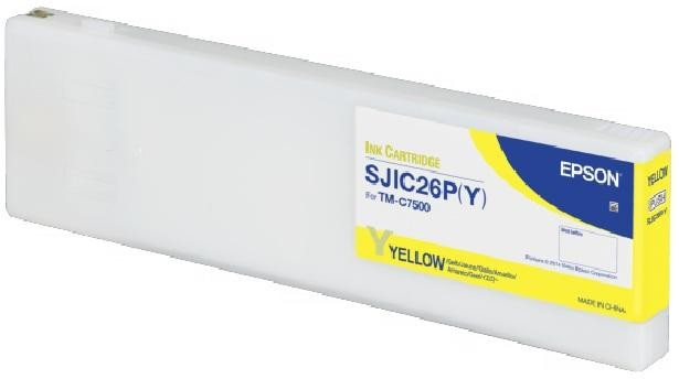 EPSON, TM-C7500, CONSUMABLES, SJIC26P (Y), YELLOW INK CARTRIDGE FOR COLORWORKS TM-C7500, RESTRICTED TO COLORWORKS PARTNERS ONLY
